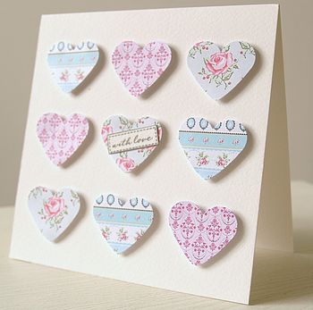 Handmade Nine Hearts Card
