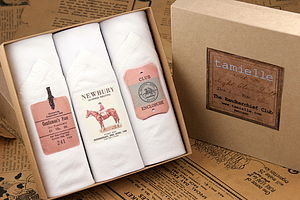Box of Three men's Handkerchiefs: Horse Race