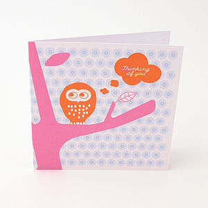 'Tweet Twoo Thinking Of You' Greeting Card - get well soon cards