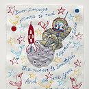 Embroidered Love Note: Mars Is Red