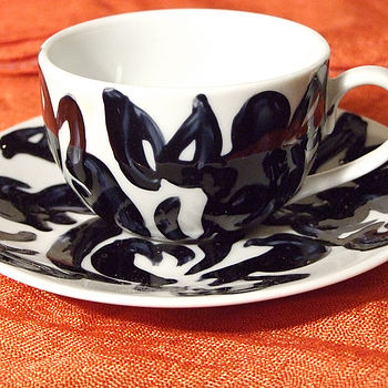 A Pair Of Noir Espresso Cup and Saucer