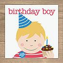 Birthday Boy Card (brown & blonde hair)