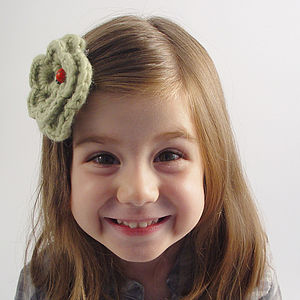Handmade Hair Clip: Ladybug In A Flower - for children
