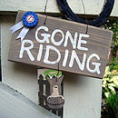 gone riding_brown wash with blue/red rosette