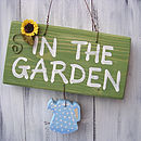 garden sign_spotty pale blue can with sunflower