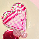 Handmade Fabric Love Heart Brooch