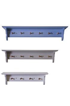 Classic Peg Rail Shelves: Top - Mid Blue, Middle - Blue/Grey, Bottom - White