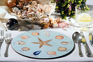 Set of Four Sea Shells Tablemats - placemats & coasters