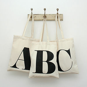 Natural Cotton Initial Tote Bag