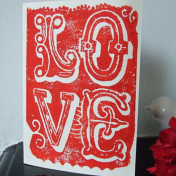 'Love' Handmade Linoprint Card