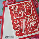 Love Handmade Linoprint Cards