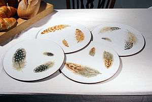 Set of Four Feather Tablemats