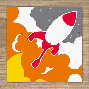 Rocket card - birthday cards