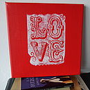 Handprinted 'Love' Canvas in white on red