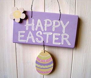 Hand Painted 'Happy Easter' Sign - easter decorations