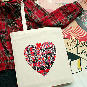 Personalised Love Shopping Tote Bag