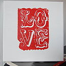 Handprinted 'Love' Canvas in red on white