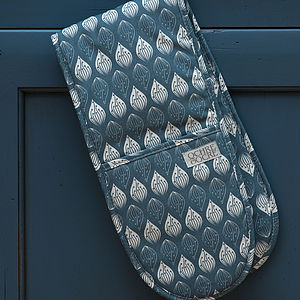 Isabella Blue Double Oven Gloves - kitchen accessories