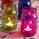 Set Of Four Coloured Glass Lanterns