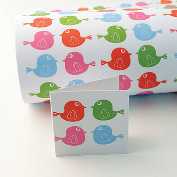 Cheerful Chirpy Gift Wrap and Gift Tag Set