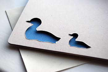 Duck And Baby Personalised Hand Cut Card