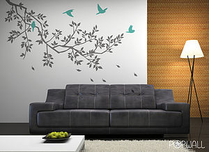 Wall Stickers: Spring Branches Grey - bedroom