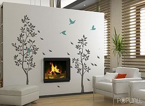 Grey Trees With Falling Leaves Wall Stickers - bedroom