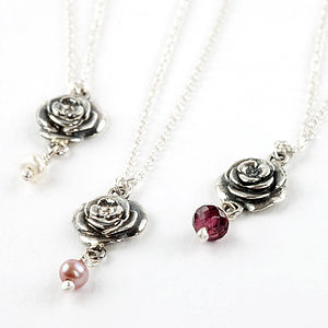 Rose Necklace With Birthstones