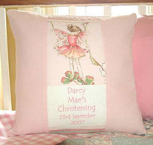 Flower Fairy Pink Christening Cushion - personalised cushions