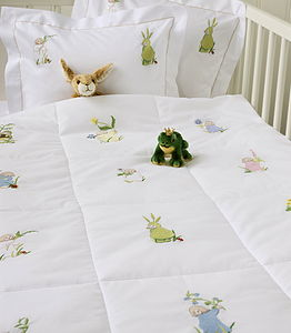 Hand Embroidered Flower Children Quilt - baby's room