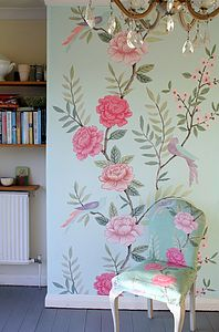 luxe chinoiserie wallpaper panel - office & study