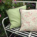 polka dot cushions with velvet trim
