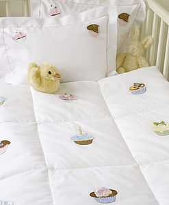 Hand Embroidered Cupcakes Quilt - baby's room