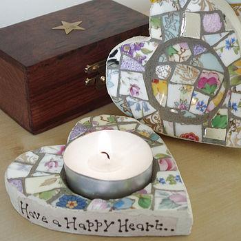 Personalised Mosaic Heart Tea Light Holder