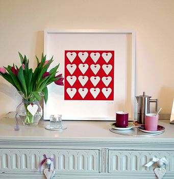 Personalised Rows of Porcelain Hearts Picture
