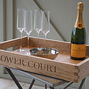 Tray with champagne