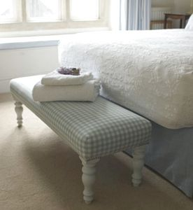 Long Gingham Footstool - furniture