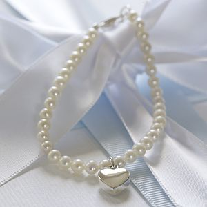 Girls Ivory Pearl And Silver Heart Bracelet
