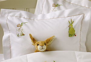 Hand-Embroidered Flower Children Pillowcase