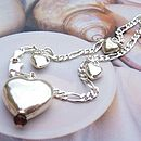 Hearts And Butterflies Silver Figaro Bracelet