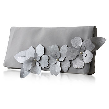 Astor silver satin clutch