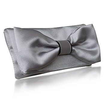 Audrey Silver Or Navy Satin Clutch
