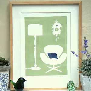 Swan Chair And Cuckoo Clock Print - art & pictures