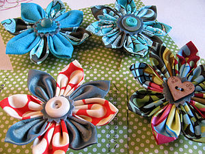 Amy Butler Print Flower Corsage Small