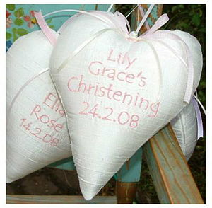 Silk 'Christening' Heart