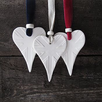 Handmade Porcelain Union Jack Detailed Heart