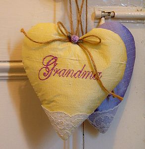 Personalised Silk Lavender 'Grandma' Heart