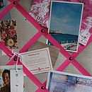 Linen noticeboard with pink ribbons