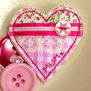 Mum heart brooch detail