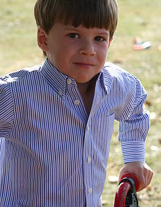 Boy's Navy Blue Stripe Shirt - clothing